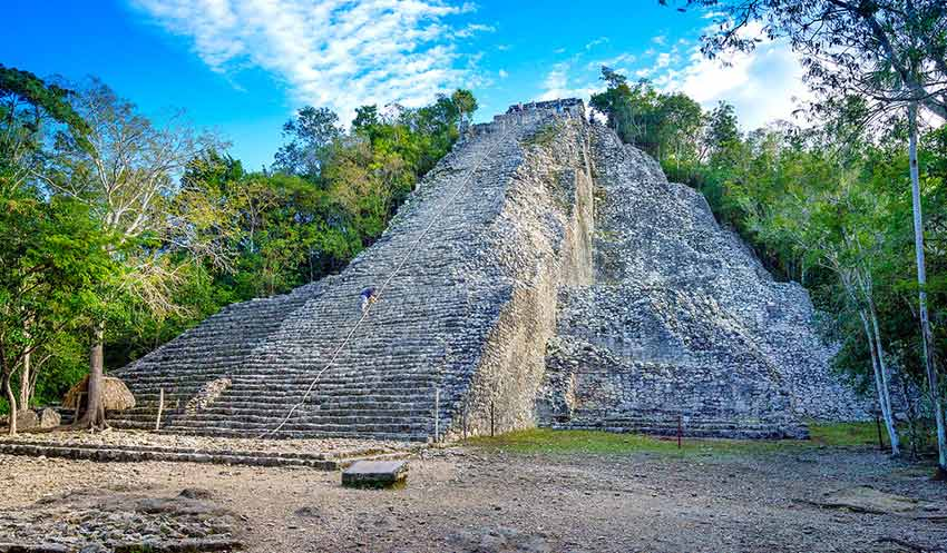 View of Mayan Ruins of Cobá and the Great Pyramid, also known as the Nohoch Mul Pyramid.